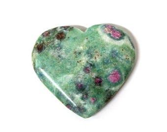 10% off July 4th 1 (ONE) Ruby Fuschite Heart Shaped Stone - Chakra - Metaphysical (RK81B5-02)