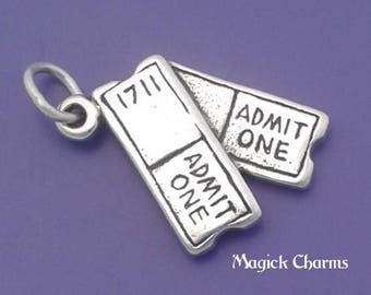 MOVIE TICKETS Charm .925 Sterling Silver Concert Event Show Tickets Pendant - lp3694