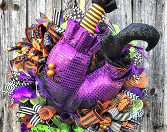 Witch Wreath, Halloween Deco Mesh, Wicked Witch Wreath, Witch Butt Wreath, Trick or Treat Wreath, Halloween Decor, XL Witch Wreath, Witches