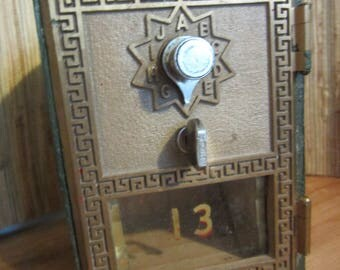 Antique Postal Mail Box Door/Bank With P.O.Box Door/Vintage Mail Box/Collectible/Brass Mailbox/PO Door/Mid Century/Gift Idea