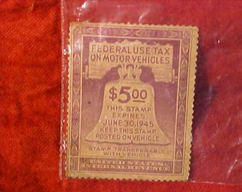 Vintage Stamp  1945 United States Internal  Revenue Federal Use Tax On Motor Vehicles used on 1941 Plymouth