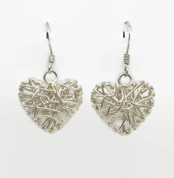 Sterling silver heart earrings with hooks, puffy open hearts with wire wrapping, stamped 925 for sterling silver