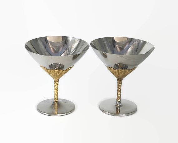 2 champagne or martini glasses, Viners by Stuart Devlin, modernist, stainless steel with gilding, Sheffield, England, 1970s