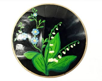 Large Antique Victorian lily of the valley hand painted jet black glass jewelry element B702-3