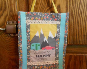 Fabric Wall Hanging with Happy Camper Art Block Print