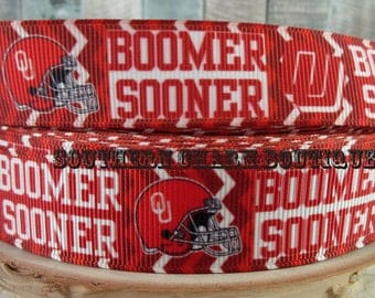 "3 yards 7/8"" university of Oklahoma Boomer Sooner grosgrain ribbon"