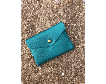 Limited Edition CARD WALLET Turquoise Leather • Business Card Holder • Credit Card Case