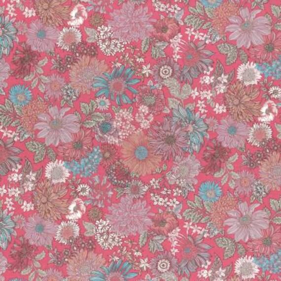 Lecien Memoire A Paris LAWN - Fat Quarter in Pink and Blue Floral