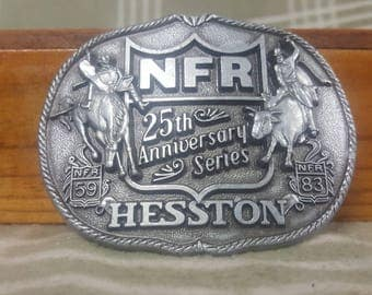 1983 NFR National Finals Rodeo 25th Anniversary Belt Buckle. Hesston. Large.
