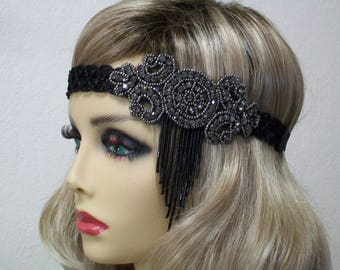 Black Flapper headband, 1920s headpiece, Flapper headpiece, Great Gatsby headband, 1920s headband, 1920s hair accessory, Roaring 20s Party