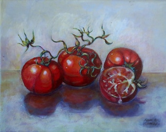 """Original, Acrylic Painting, Still Life, Tomatoes on the Vine, Painting a Day, Daily Painting 8"""" x 10"""""""