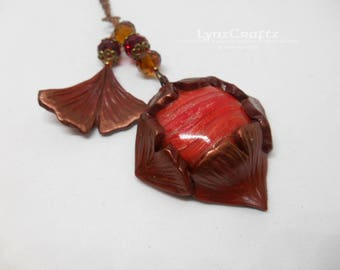 Copper Ginkgo Leaves copper clay polymer clay jewelry pendant necklace charm handmade one of a kind