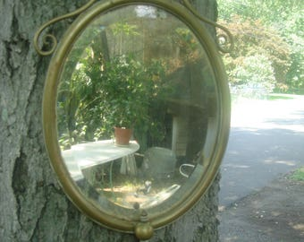 antique solid  brass ornate oval mirror/ beveled glass old mirror glass/