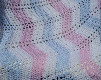 Soft pink and baby blue ripple blanket
