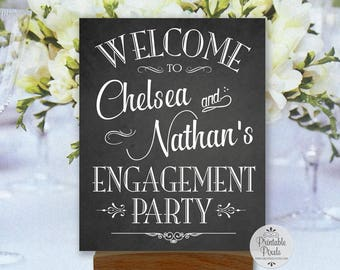 Engagement Party Printable Welcome Sign, Chalkboard Style, Personalized with Names (#ENG1C)
