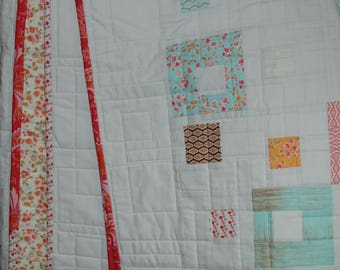 Full of Flowers Geometric Quilt, Handmade Quilt with Frames and Squares