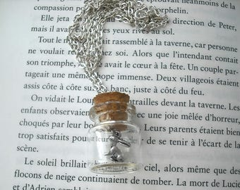 "Silver vial necklace ""rabbit"""