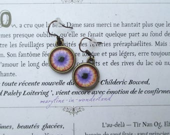 eye eye bronze Cabochon earrings purple and orange