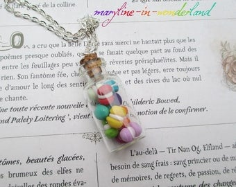 Necklace vial drink me colorful macaroons