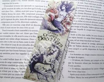 Unicorn and Mermaid purple bookmark