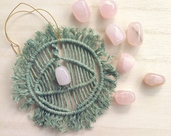 Rose quartz healing gift Micro macrame talisman Self love amulet Small pink quartz stone Heart chakra Green bedroom decor Car charm for her