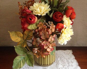 Fall floral for your cottage decor in warm rich colors.  A vintage green pitcher holds this lovely autumn toned bouquet.