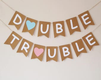 Twins, Double trouble bunting, twin boy, twin girl baby shower bunting decor, twins birthday party, fun photo prop