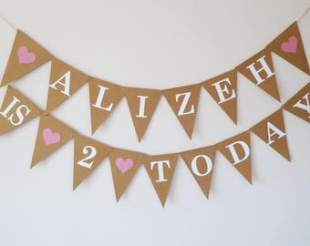 Personalised 2nd birthday party bunting decoration, birthday gift