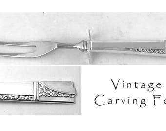 Vintage Silver Plated Carving Meat Fork, Floral Silverware,  Roast Carver Fork with Rest, Antique Silverware Caprice Nobility Silver Plate