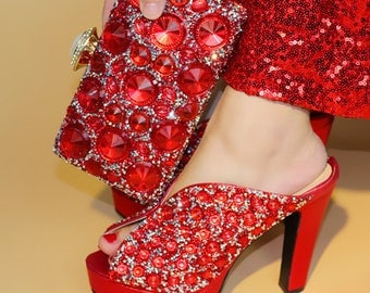 Fashion Women Wedges red Shoes And Bag Set