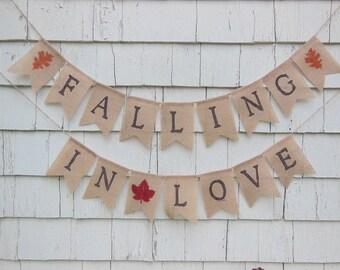Falling in Love Banner, Fall Bridal Shower Decor, Falling In love Shower, Fall Wedding Decor, Autumn Wedding Decor, Rustic Shower Decor