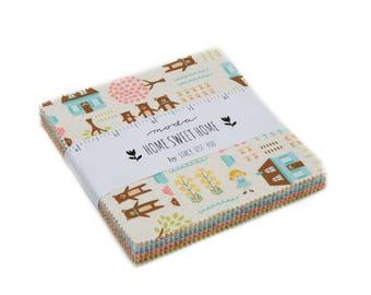 SALE - Home Sweet Home Charm Pack, Moda Fabrics, Moda Precuts, Samplespree, Fabric for Children, Juvenile Fabric, Whimsical Fabric, IN STOCK