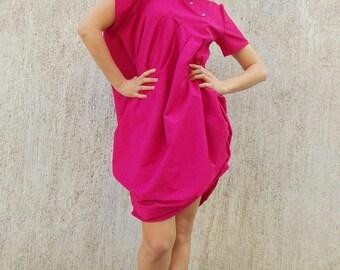 SALE 30% OFF Hot Pink Summer Dress, Asymmetrical Loose Cotton Dress, Short Sleeved Maxi Dress with Asymmetrical Collar TDK110 by Teyxo