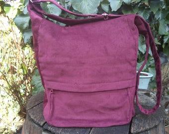 Claret corduroy messenger bag,zippered big bag