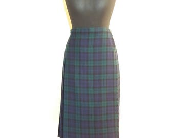 Scottish Tartan Plaid Authentic Hot Green Wool Wrap Skirt Size Medium