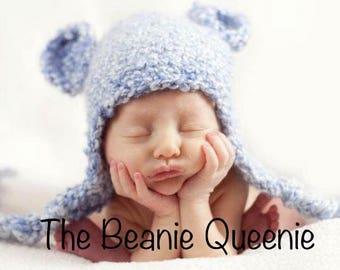 Baby Boy Blue Bear Beanie 0-3 Months