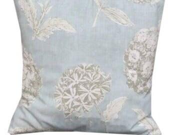 "Stylish Floral Fabric Sicilia Printed 16"" X 16"" Cushion Cover Duck Egg Blue"