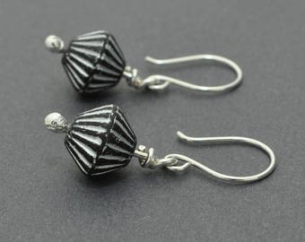 Sterling Silver Dangle Earrings, Spinner Earrings, Czech Glass bead, Matte Black, Stripes