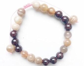 Fire Elements Bracelet, Sunstone Bracelet, Garnet Bracelet, Energy Bracelet, Confidence Bracelet, Strength Bracelet