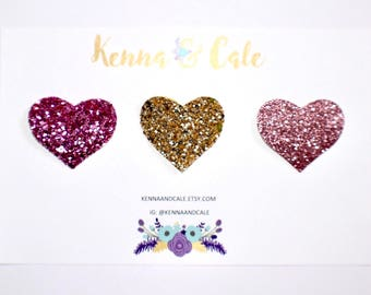 Set of 3 Glitter Heart Snap Clips // Non Shedding Glitter Bow // Pink and Gold