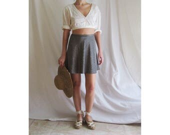 90s Does 70s Silver Mini Skirt Small
