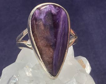 Purple Charoite Tear Drop 92.5 Handmade Silver Ring US 7 1/4