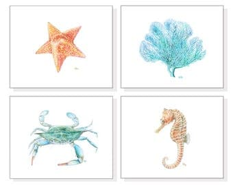 Nautical Decor Nautical Prints Nautical Wall Art Beach Home Art Blue Coastal Art Blue Crab Coral Starfish Seahorse Nautical Print Set Of 4.