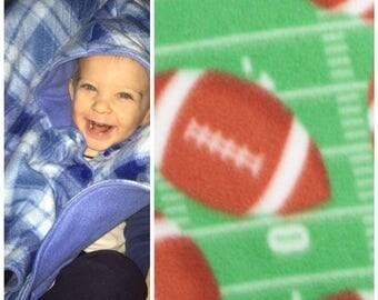 Car seat poncho, football poncho, fleece poncho, carseat blanket, toddler poncho, baby poncho, carseat poncho, werable blanket