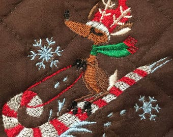 Reindeer candy cane pot holder embroidery