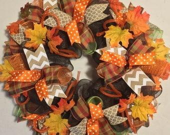 Fall deco mesh wreath, fall wreath, thanksgiving harvest autumn deco mesh wreath, thanksgiving deco mesh wreath, wreath, wreaths, autumn