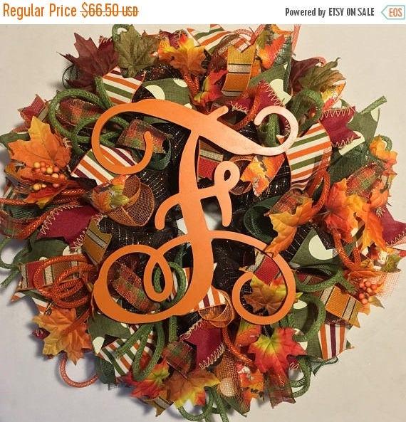 SALE Fall wreath, Fall monogram wreath, fall wreaths, monogram wreaths, fall marquee wreath, wreath, wreaths, thanksgiving wreath, fall deco