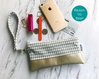 Houndstooth Vegan Leather Wristlet - Wristlet Wallet - Faux Leather - Smartphone Wristlet - Faux Leather Wristlet - Vegan Leather Clutch Bag