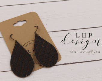 Brown Anaconda Cowhide Earrings