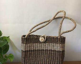 Vintage Woven Shoulder Purse / Straw basket Bag / Boho Chic Summer Bag / Small Summer Purse